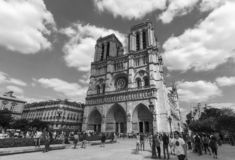 Outside Notre Dame de Paris. A view of the west façade of the cathedral Notre-Dame in Paris, France, before the April 2019 fire royalty free stock images