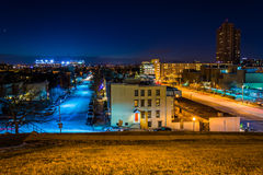 View west from Federal Hill at night, in Baltimore, Maryland. Stock Images