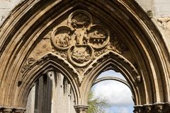 A view of the west front carving remains of Crowland Abbey, Lincolnshire, United Kingdom - 27th April 2013 stock images