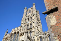 View of The West front of the Cathedral with a gargoyle in the foreground in Ely, Cambridgeshire, Norfolk, UK royalty free stock photos