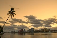 View of West Palm Beach Florida from the Intercoastal royalty free stock images