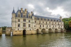 View at the west side Chenonceau chateau with river Cher stock images