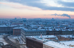 View on west from St. Isaac Cathedral in a frosty day Stock Photo