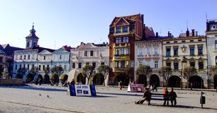 View on western side of old town square in Cieszyn in Poland. View on western side of central market in Cieszyn in Poland. Photo taken in Polish part of the city Royalty Free Stock Image
