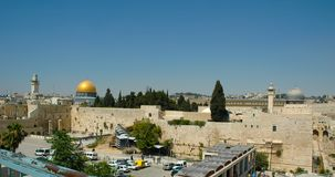 Western Wall, Dome of the Rock and Aksa Mosque - 2004. A view of the Western Wall, the Dome of the Rock and the Al Aksa Mosque in Jerusalem, 2004, from the stock image