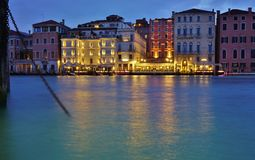 View of the Westin Europa and Regina on the Grand Canal at night Royalty Free Stock Photography