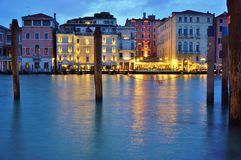 View of the Westin Europa and Regina on the Grand Canal at night Royalty Free Stock Images