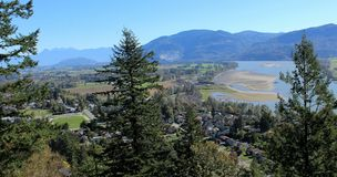 View from Westminster Abbey. A spectacular view of the Hatzic area of the Fraser River valley, as seen from benchland at Westminster Abbey, east of Mission BC Royalty Free Stock Photography