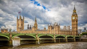 Westminster Bridge and The Houses of Parliament. View of Westminster Bridge and The Houses of Parliament across the River Thames Stock Images