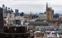 Westminster Abbey and Victoria Tower from Westminster Cathedral lookout. London, United Kingdom. royalty free stock photography
