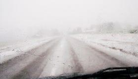 View through wet car window Royalty Free Stock Photo