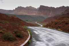 View of the Wet Road in Capitol Reef National Park, Utah Royalty Free Stock Image