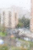 View of wet window glass of apartment house Royalty Free Stock Images