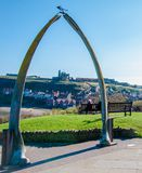 View of The whale bones, Whitby town symbol with abbey in background Stock Photo