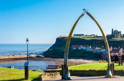View of The whale bones, Whitby town symbol with abbey in background Royalty Free Stock Images