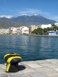 A View from the Wharf. A view of the town of Itea, Greece, from the pier of its waterfront royalty free stock images