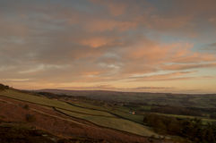 View of Wharfe Valley from Ilkley Moor at Sunrise. Stock Image