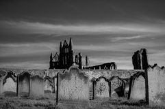 View of Whitby Abbey and cemetery during the night in North Yorkshire,UK Stock Images
