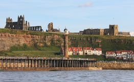 A view of Whitby Abbey and St Mary's Church Royalty Free Stock Image