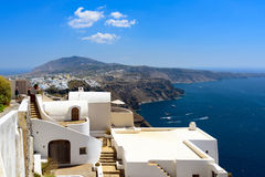 View on white architecture of Santorini island and caldera of volcano, Greece. Royalty Free Stock Photo