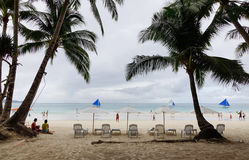 View of the White beach with many palm trees in Boracay, Philippines Stock Image