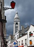 View on white belfry near Montmartre, Paris Royalty Free Stock Images