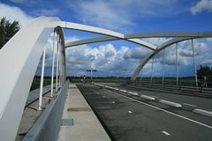 Long white bridge stock image