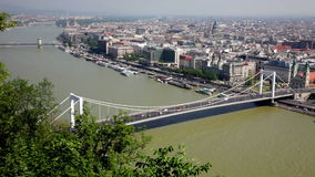 View of White bridge and Danube in Budapest stock video