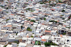 View of the white buildings of Lindos. Stock Photo