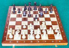View from white of chess gameplay on chessboard. View from white side of chess gameplay on wooden chessboard on green baize table stock image