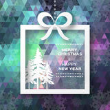 View of white christmas trees in box with bow Royalty Free Stock Photo