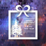 View of white christmas trees in box with bow Royalty Free Stock Photography