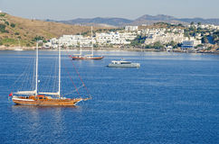 View of the white city of  Bodrum from the sea Royalty Free Stock Photography