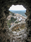View of the white city through an embrasure of the ancient castl Stock Photography