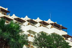 View of white houses with balconies in Turkey. Typical architecture in the city of Bodrum Stock Image