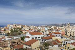 View of the white houses of Chania city from above, Crete, Greec Stock Photo