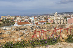 View of the white houses of Chania city from above, Crete, Greec Stock Images