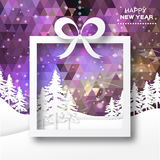 View of white mountains on polygonal background with christmas trees. Stock Image
