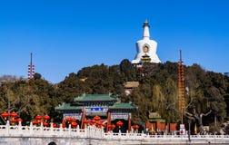 White Pagoda in Beihai Park,Beijing, China. View of white pagoda in beihai park,Beijing, China royalty free stock photography