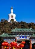 White Pagoda in Beihai Park,Beijing, China. View of white pagoda in beihai park,Beijing, China stock image
