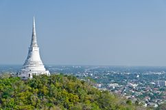 View of White pagoda on top of hill Royalty Free Stock Photo