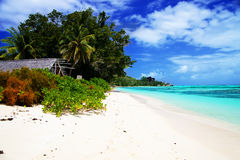 View of white sandy beach Anse Union Stock Images