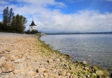 View of the white tower on the beach of Liptovska lake. Slovakia royalty free stock image