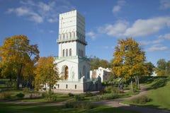 View of the White tower sunny day. Alexander Park of Tsarskoye Selo Royalty Free Stock Photos