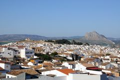 View of white town, Antequera, Andalusia. Royalty Free Stock Image