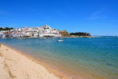 View of the town and river, Ferragudo, Portugal. Stock Photo