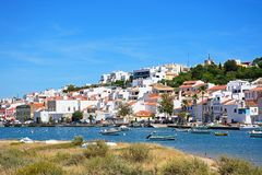 View of the white town and river, Ferragudo, Portugal. Stock Photo
