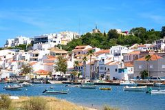 View of the white town, Ferragudo, Portugal. Stock Images