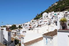 Spanish white village Mijas Pueblo in Malaga distric. A view of the white village of Mijas Pueblo in Spain royalty free stock photos