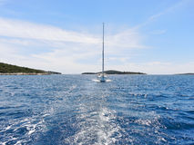 View of white yacht in blue Adriatic sea Royalty Free Stock Image